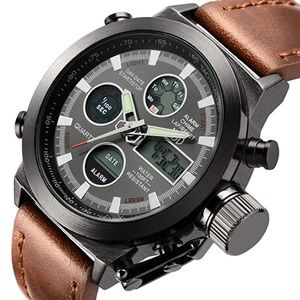 Brown Leather Men's Military Watch Waterproof